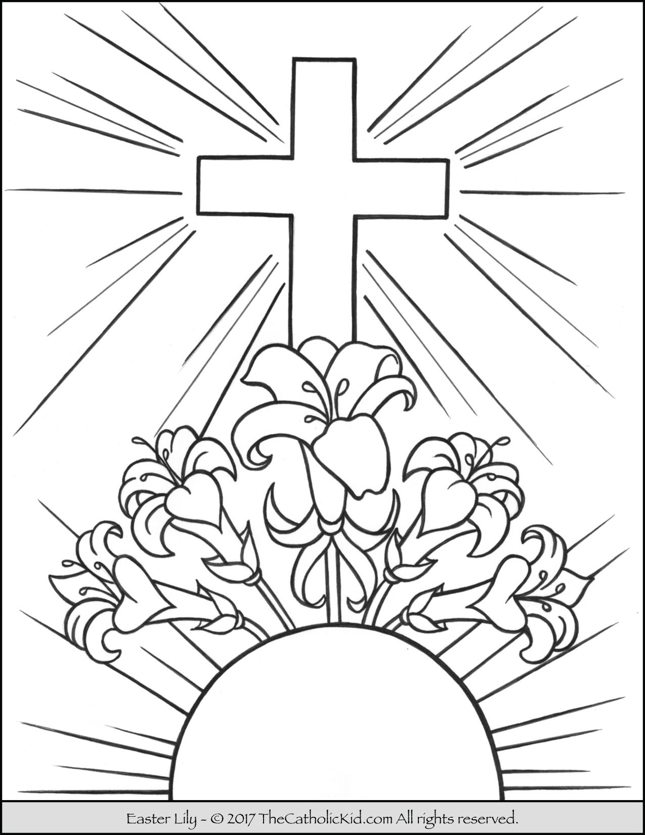 easter lily coloring page - Catholic Coloring Pages Easter