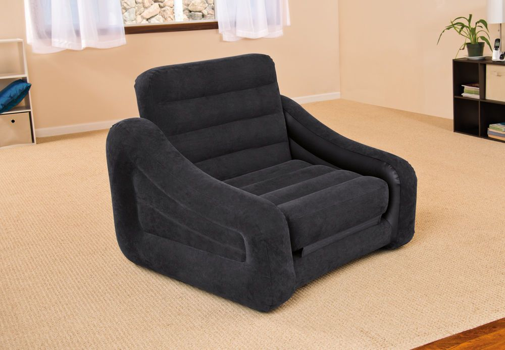 Details About Intex Inflatable Air Chair With Pull Out Twin Bed