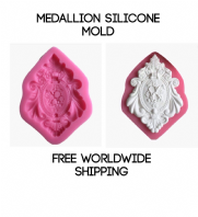 Medallion mold, brooch mold, brocade mold, silicone cake mold, ornate mold, Free worldwide shipping