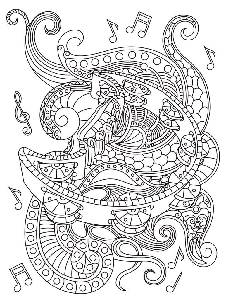 Music coloring page | Music Coloring Pages for Adults | Pinterest ...