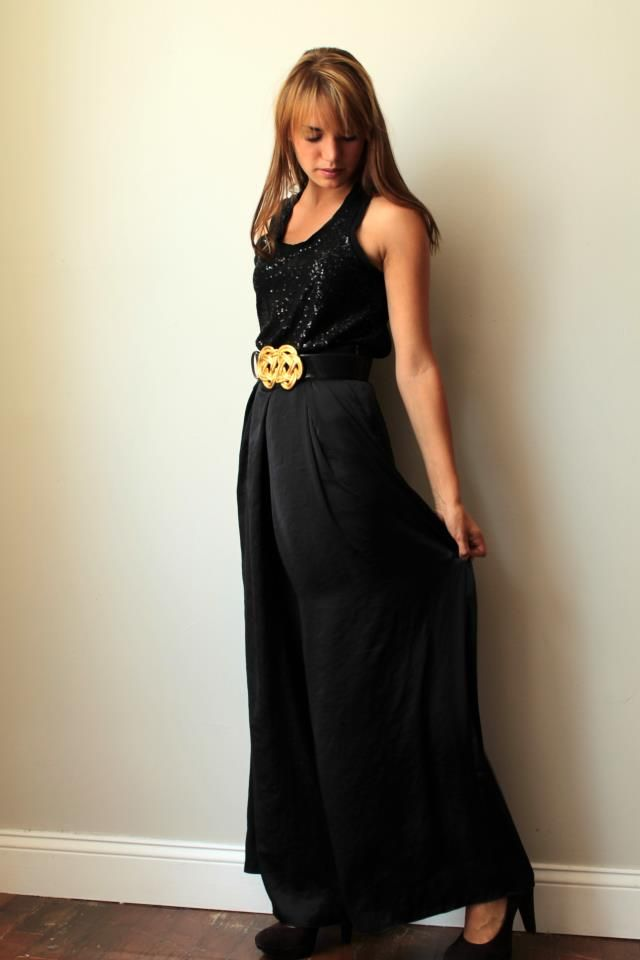 black sequin tank, belt, maxi