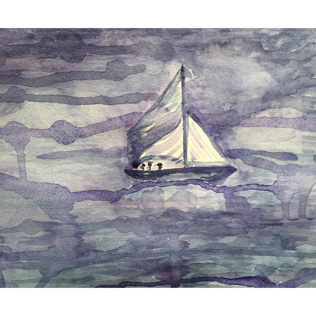 Starboard... #watercolor #winsorandnewton #seascape #sailing #sailboat #abstractart #abstract #art #contemporaryart #nofilter by kathleensgarden