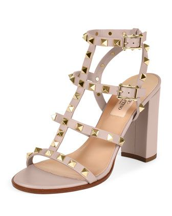 a73f89f7419c Rockstud Leather Block-Heel Sandal Powder in 2019
