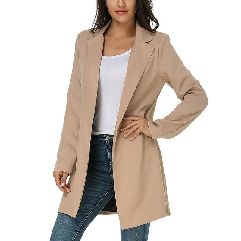 2018 Autumn Winter Women s Blazers New Fashion Jackets Suit Coat Outerwear  Ladies Work Wear Office Casual Slim Lapel Long Blazer 95353777b932