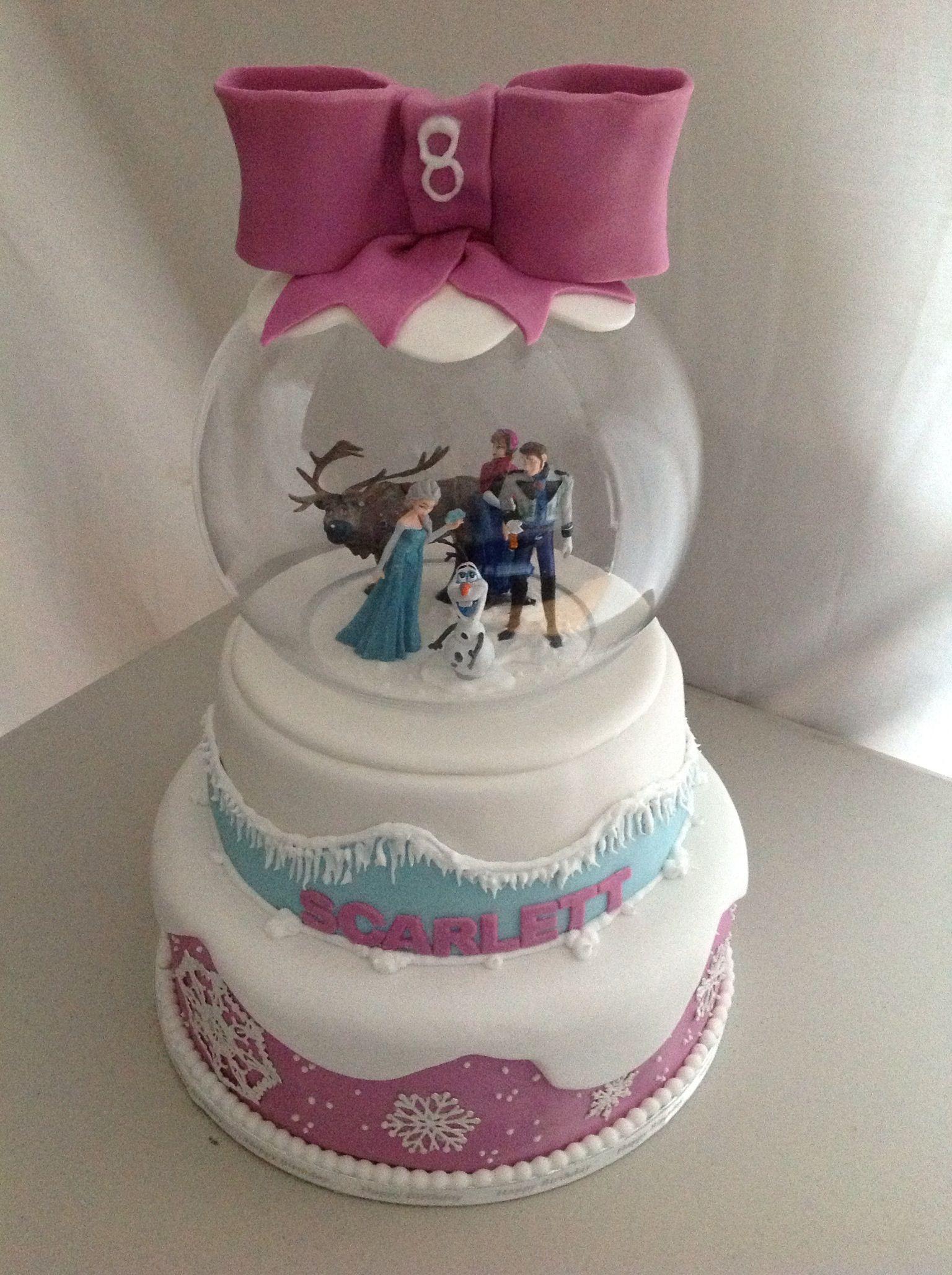 Disney frozen cake with snow globe by wwwjojocupcakescouk