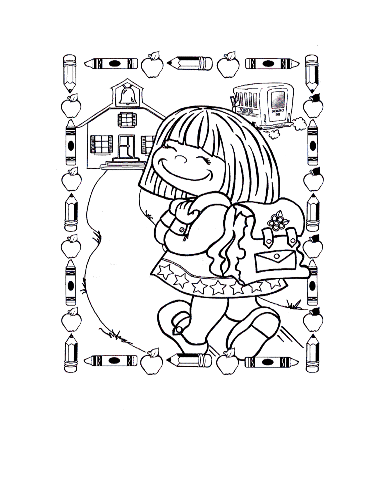 Back To School Girl Printable Coloring Pages School Coloring Pages Coloring Pages Coloring Pages For Girls