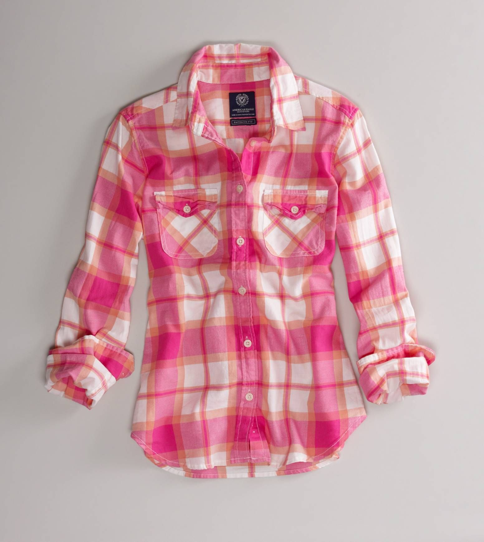 AEO One Shoulder Chambray Shirt. Pink Plaid ... - AEO One Shoulder Chambray Shirt Plaid, Purple And Flannel Shirts