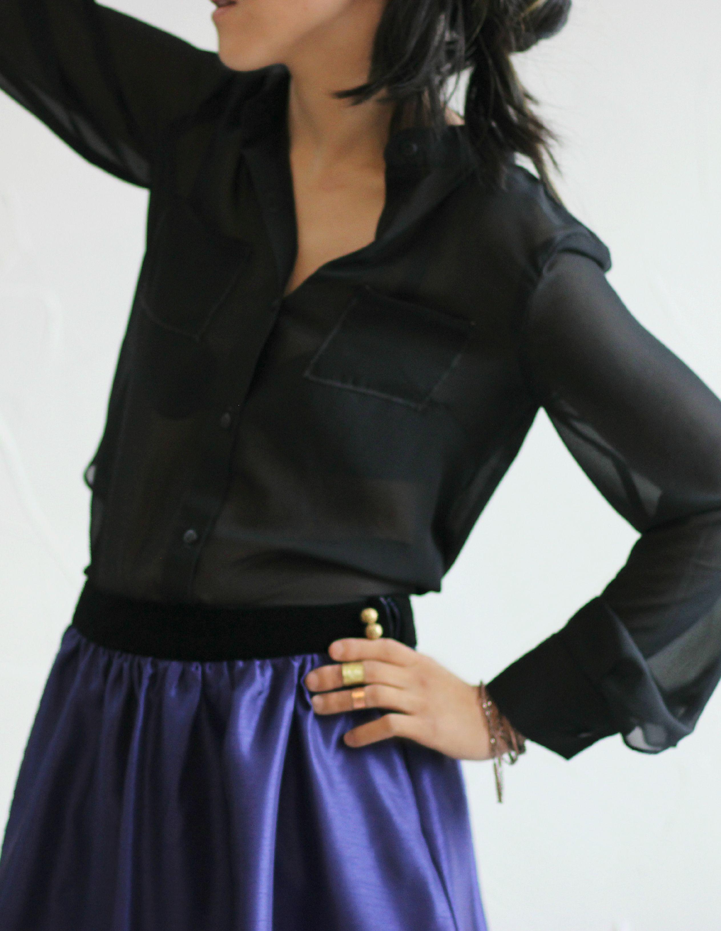 deep purple & black velvet skirt paired with a sheer black blouse