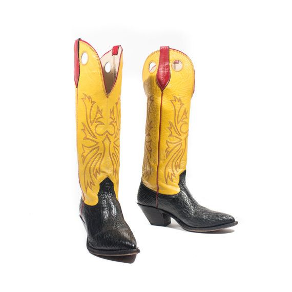17f5936fe42 Vintage Tall Buckaroo Cowboy Boots Yellow & Black Western Boots Red ...