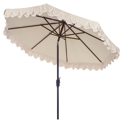 Elegant Valance 9 Patio Umbrella Beige White Safavieh