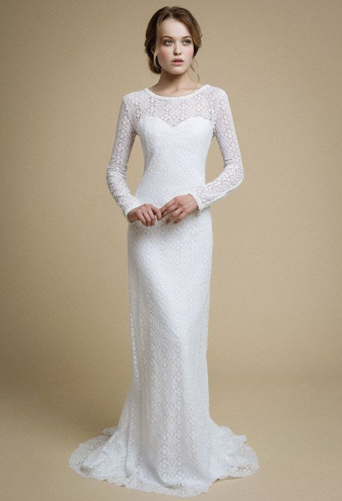 Marmaide with Long Sleeves White Lace Dresses
