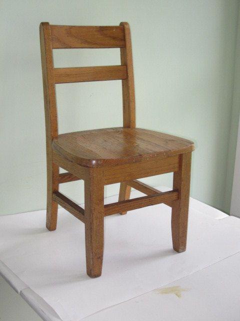Antique Oak Childs Size School Desk Chair  Boys room