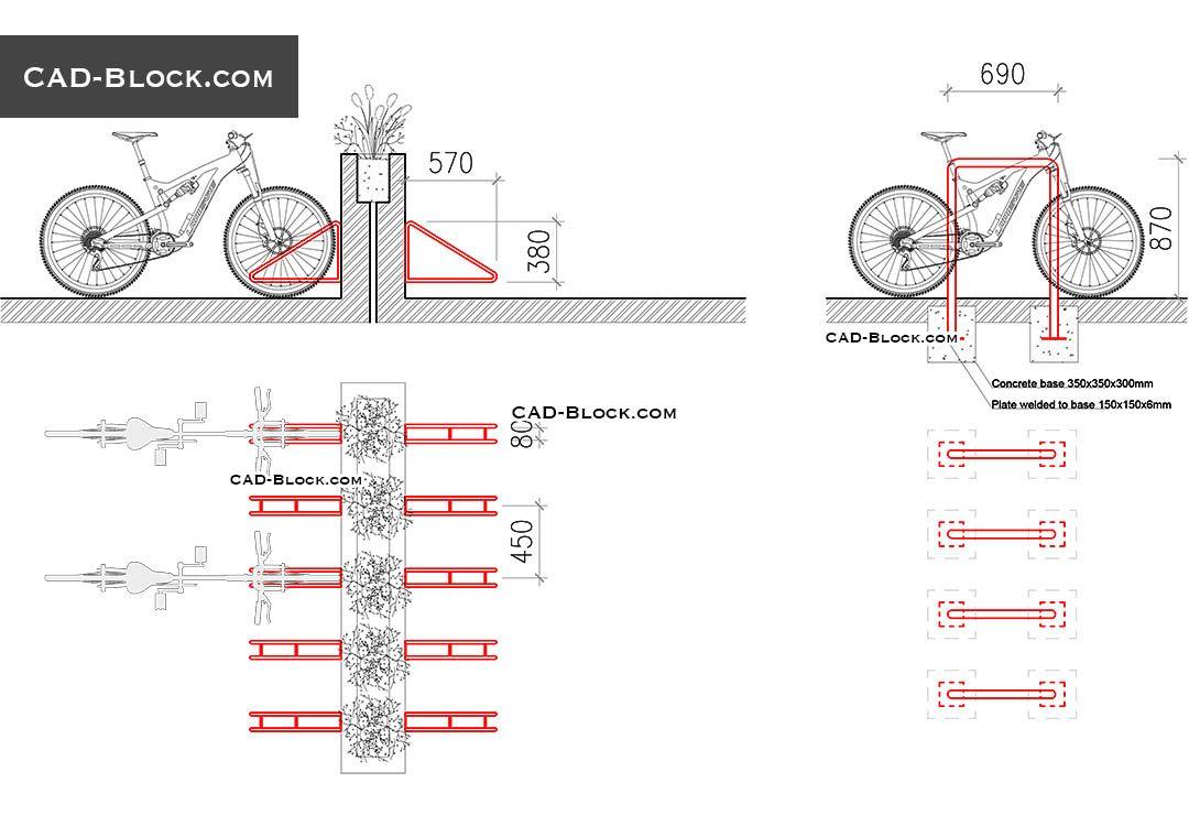 Bike Rack free CAD drawings | Architectural graphics | Bike rack