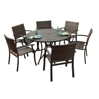 Stone Harbor Large Round Dining Table And Newport Arm Chairs 7 Piece Outdoor Set