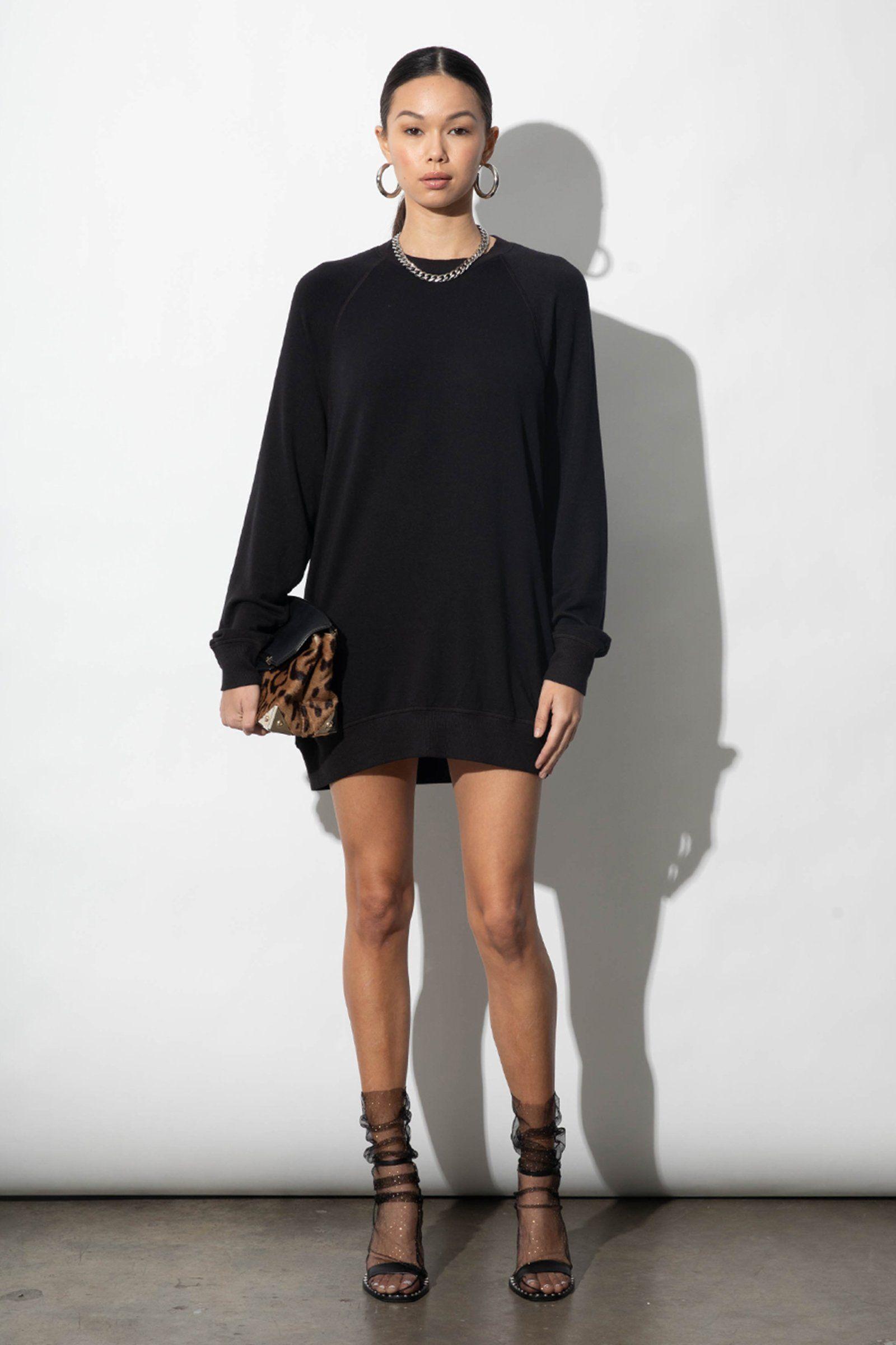 Bridget Black Modal Ultrasoft Fleece Sweatshirt Dress - Black / Small