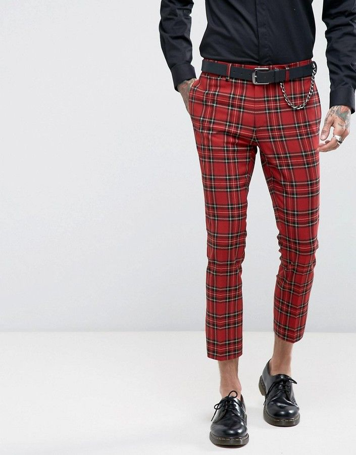 38693a5b3 ASOS Super Skinny Crop Suit Pants In Plaid. Find this Pin and more on Men  Jeans ...