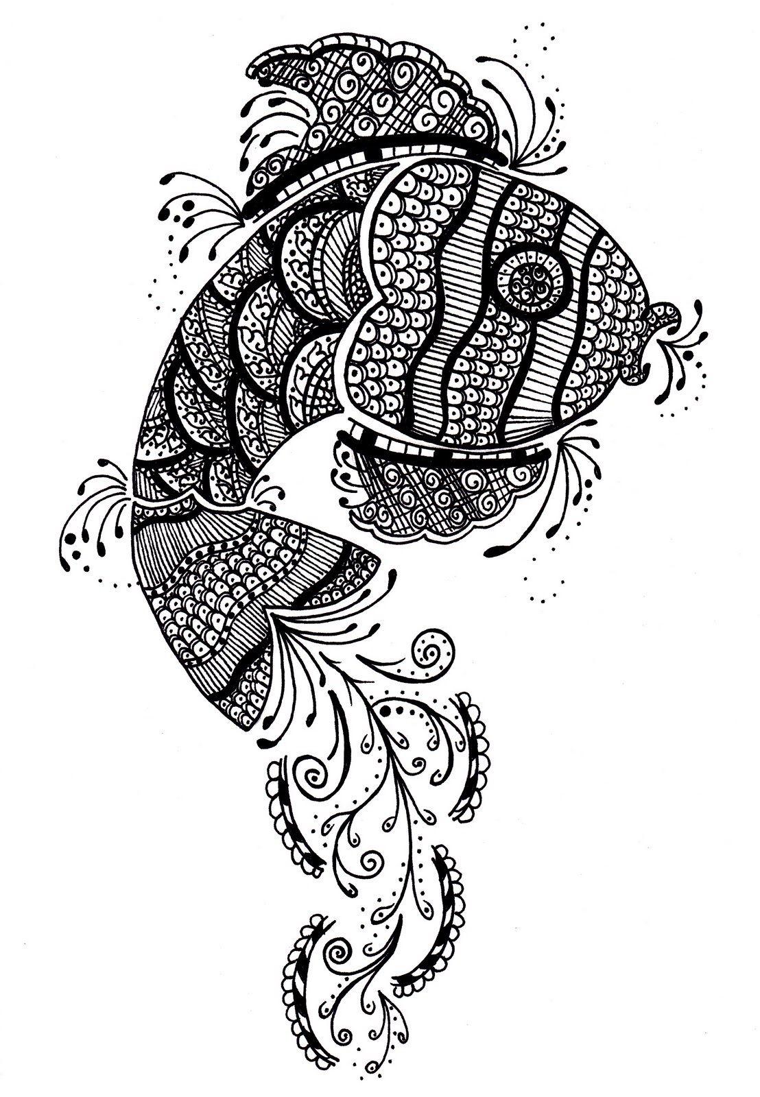 Henna Fish Design Ideal For A Tattoo Dierenillustraties Zentangle Patronen Patronen