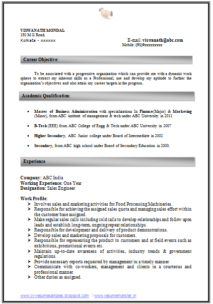 Professional Resume Format For Experienced Free Download How To Write An Excellent Resume Sample Template Of An Experienced .