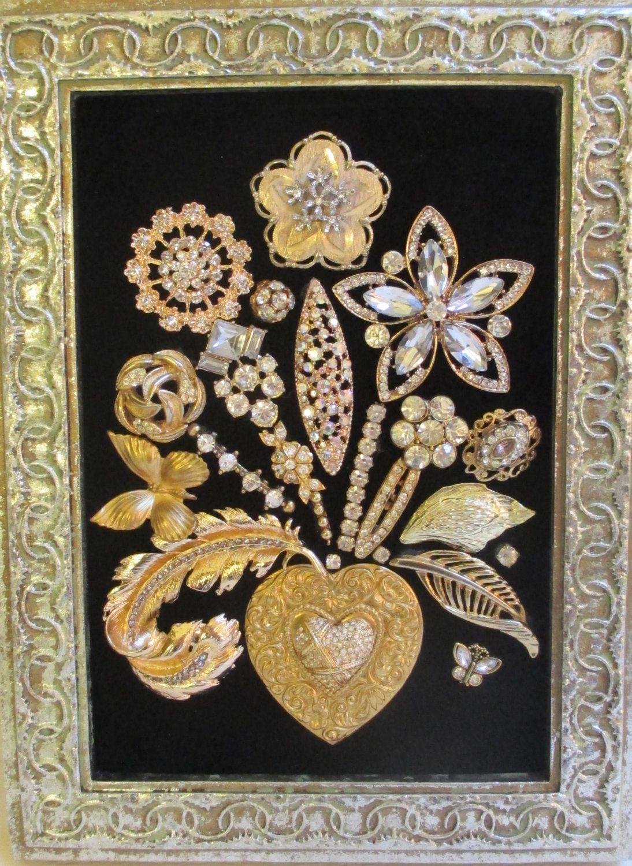 Jeweled Framed Jewelry Flower Bouquet Black Velvet Gold