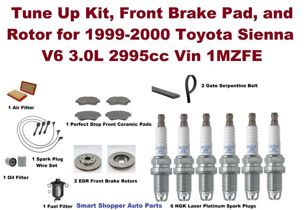 Tune Up Kit, Brake, Rotor for 19992000 Toyota Sienna V6