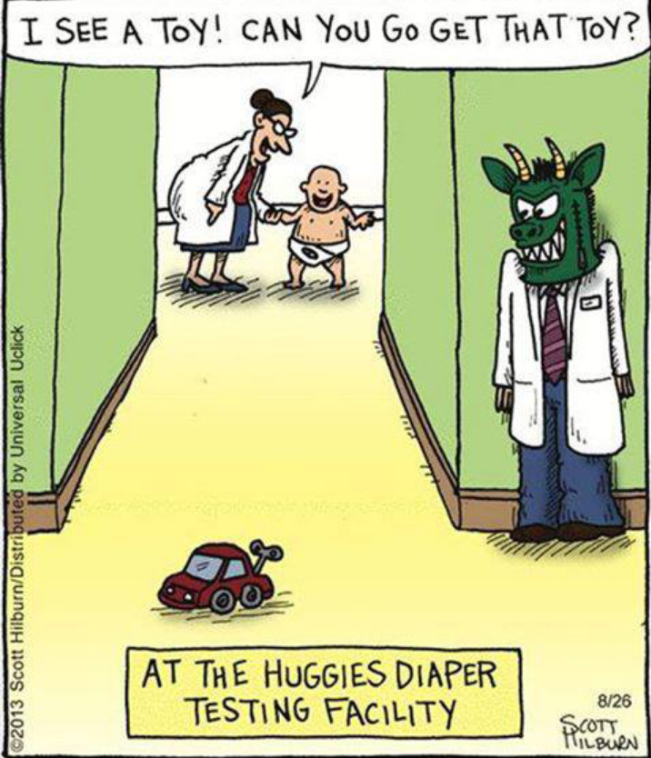 Funny cartoon - Huggies Diaper Testing - http://jokideo ... Funny Adults Cartoon Image