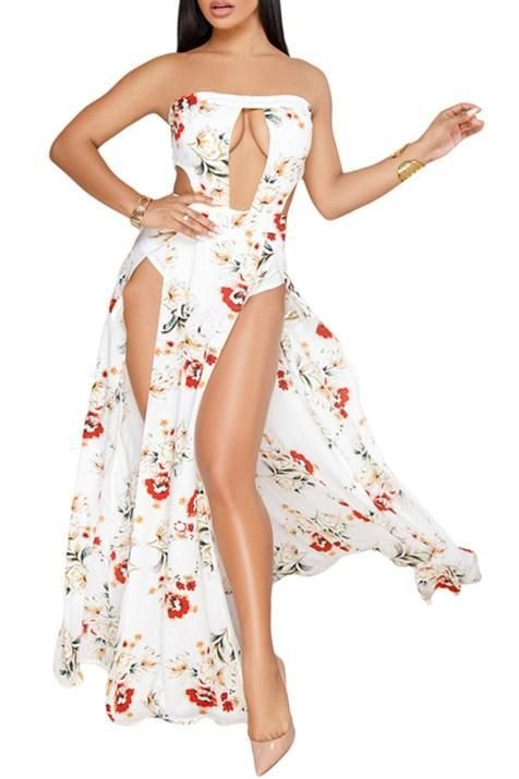Chic White Floral Slit Legs Strapless Jumpsuit MB64394-1 – ChicLike.com ef177839f