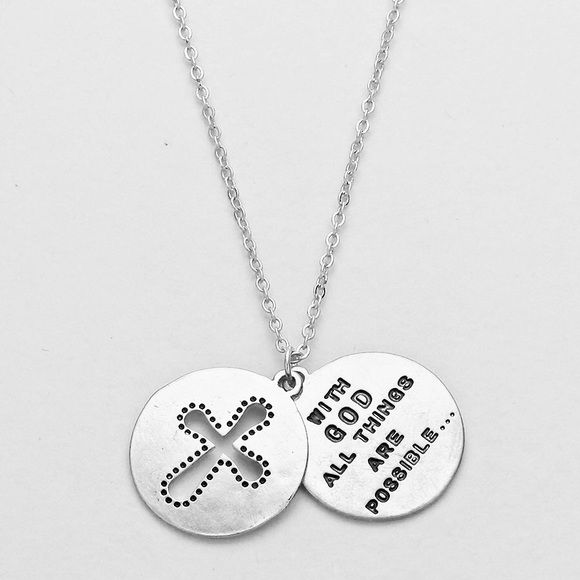 ✨ WITH GOD ALL THINGS ARE POSSIBLE NECKLACE✨ ✨Double Pendant ✨With God All Things Are Possible Necklace Jewelry Necklaces