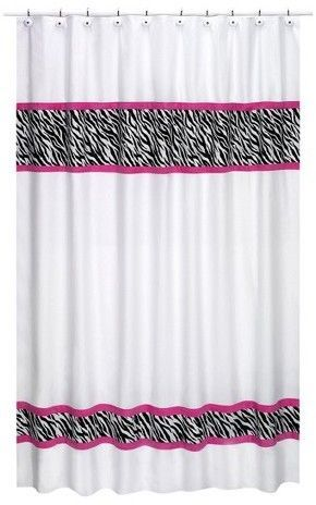 Zebra Shower Curtain Pink Just Enough Zebra Stripe For Your