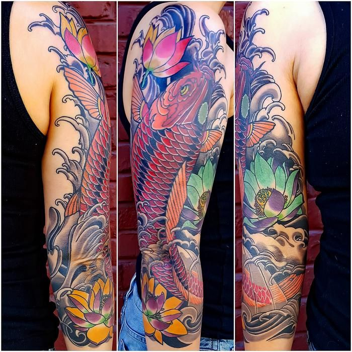 Japanese Style Sleeve Tattoo Flowers Koi Samurai: Koi Fish Sleeve Tattoo By Custom Tattoos By Adam Sky, San