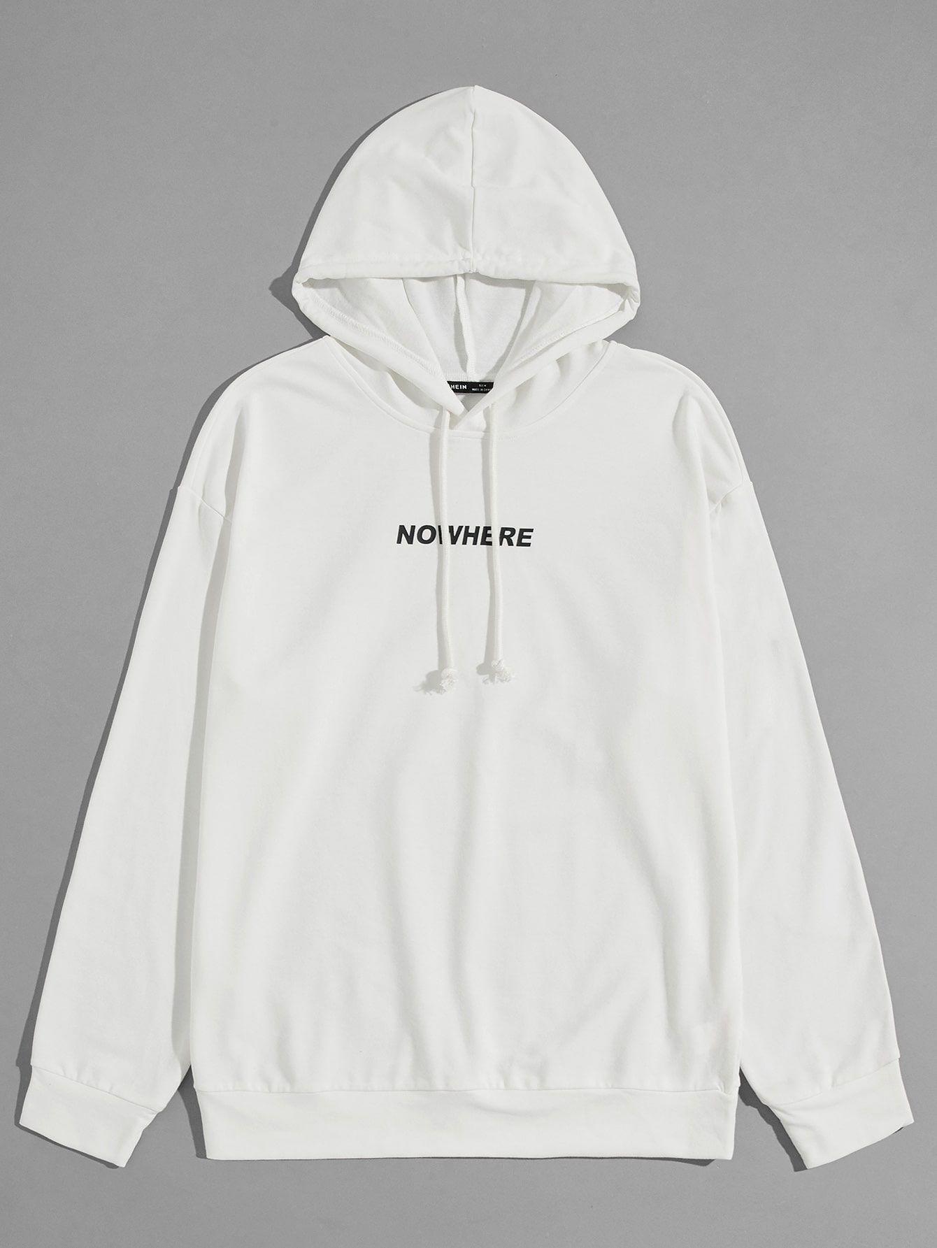 Men Letter Graphic Drawstring Hoodie Shein Usa In 2021 Printed Sweatshirts Hoodies Hoodie Outfit Men [ 1785 x 1340 Pixel ]