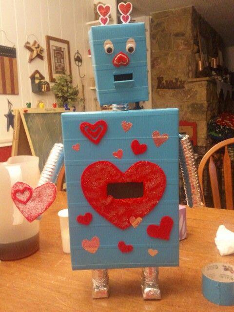 Robot Valentine Shoe Box Puppy Valentines Valentines For Kids Valentine S Day Crafts For Kids