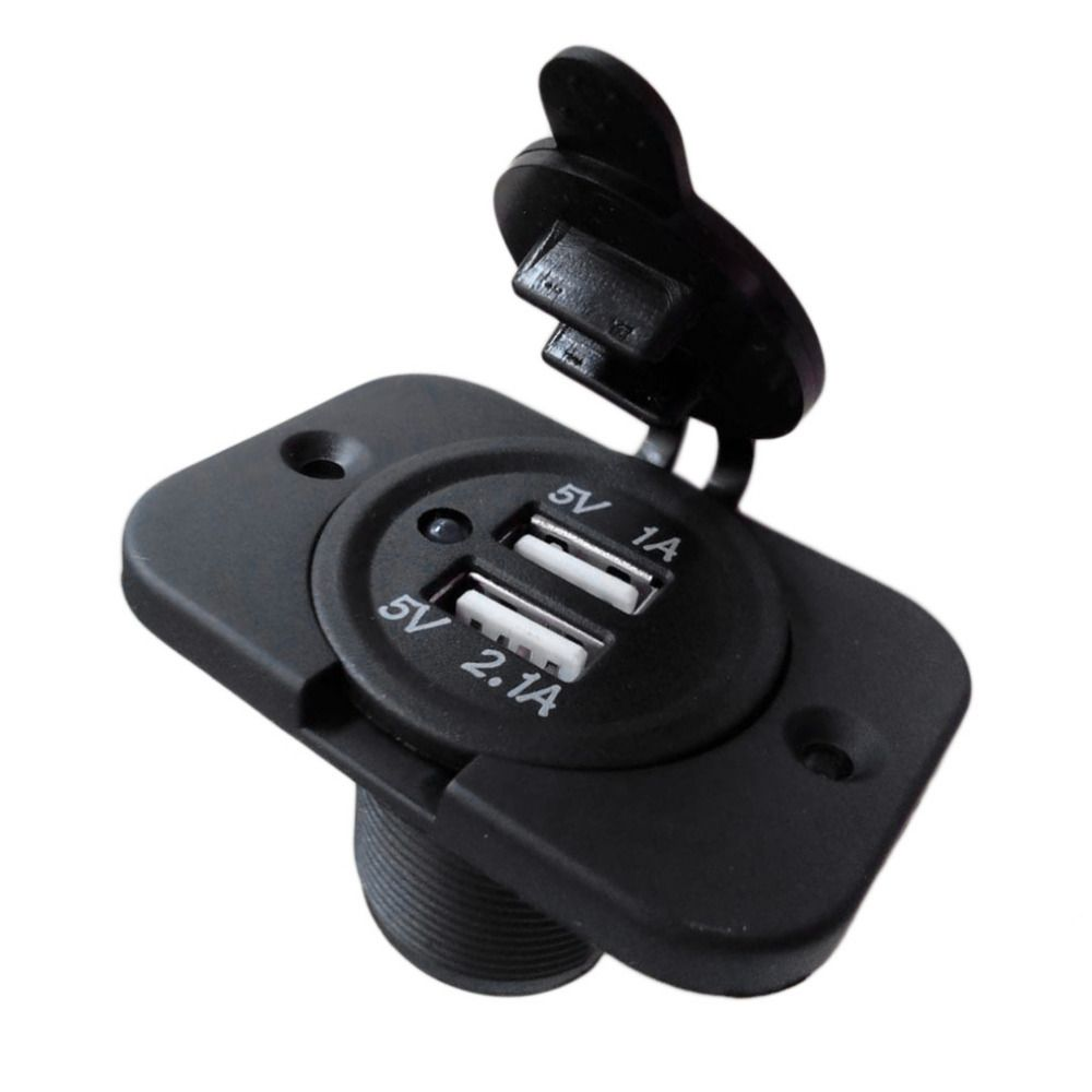 1pc 12v Dual Usb Charger Power Socket Outlet Plug Panel Mount Boat Truck Auto Dual Usb Car Usb Usb