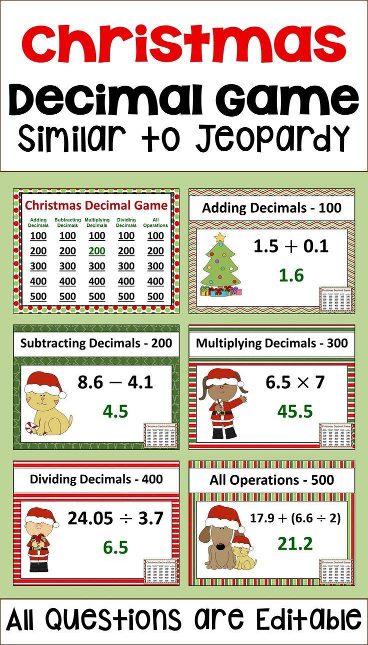 Christmas Decimal Game - Similar to Jeopardy | Christmas maths, Game ...
