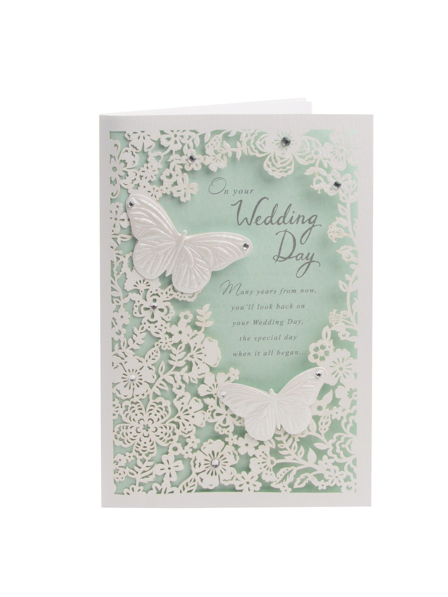 Clintons Collection Laser Cut Flowers Wedding Card