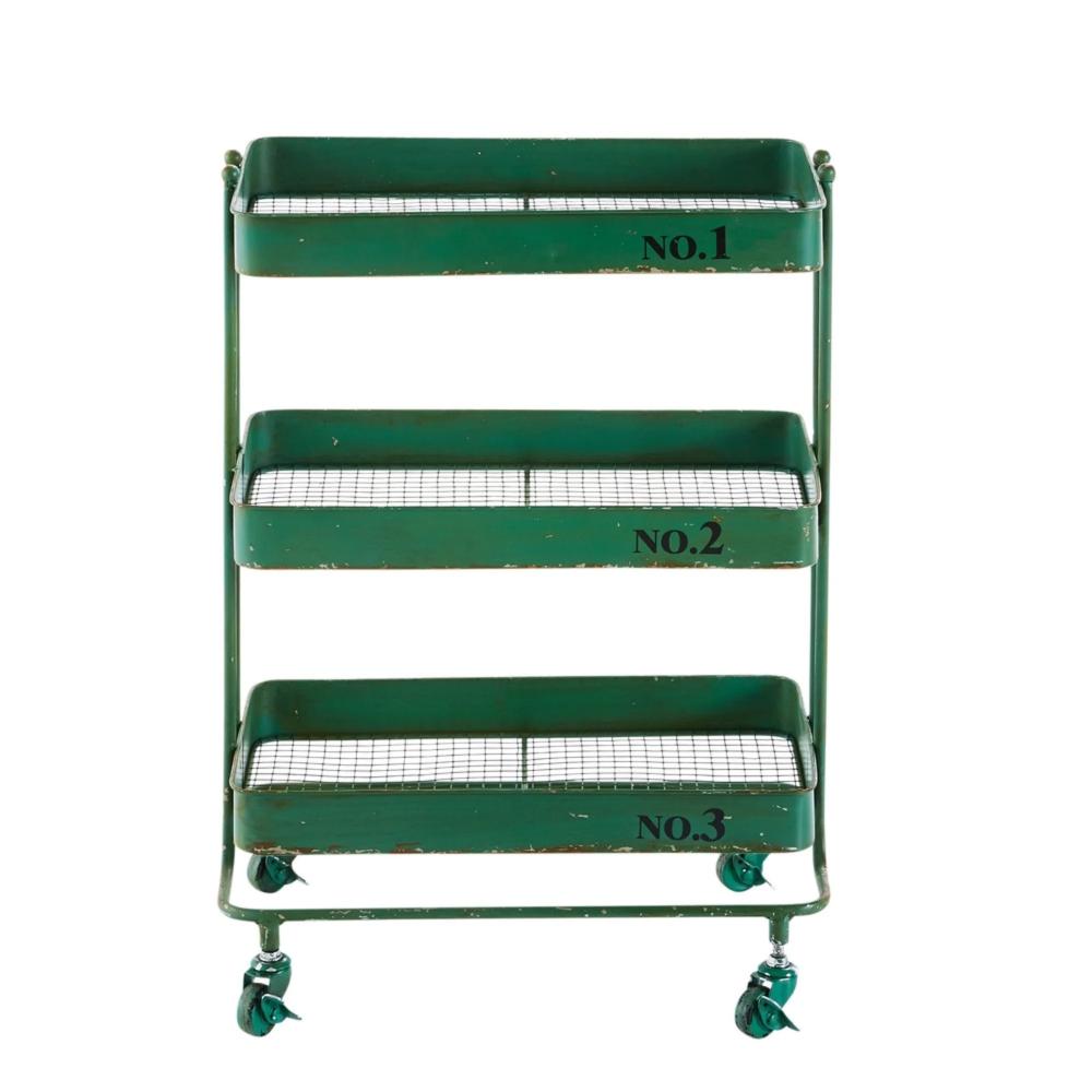 Carrello A Rotelle In Metallo Verde Maisons Du Monde Servierwagen Korb Und Kiste Servierten