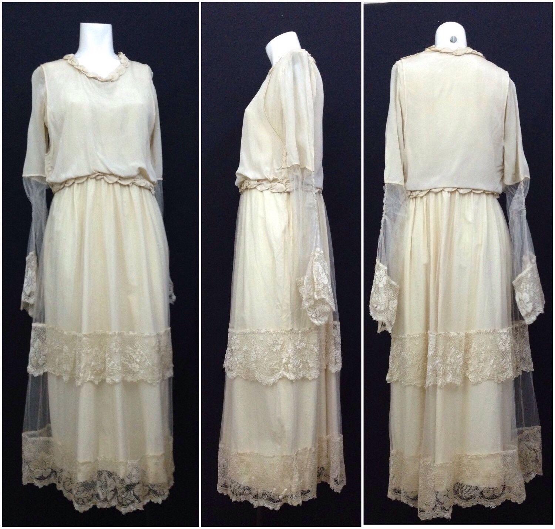 Edwardian 1910s Creme Silk Lace Pearl Trim Tea Length