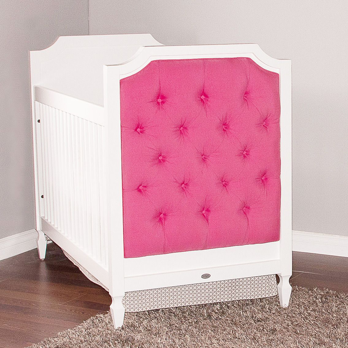 Hot Pink Upholstered Crib By Newport Cottages #nursery #crib