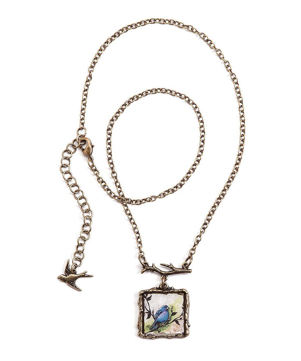 Look what I found on #zulily! Bronze Patina Bluebird Pendant Necklace by Words to Live By #zulilyfinds