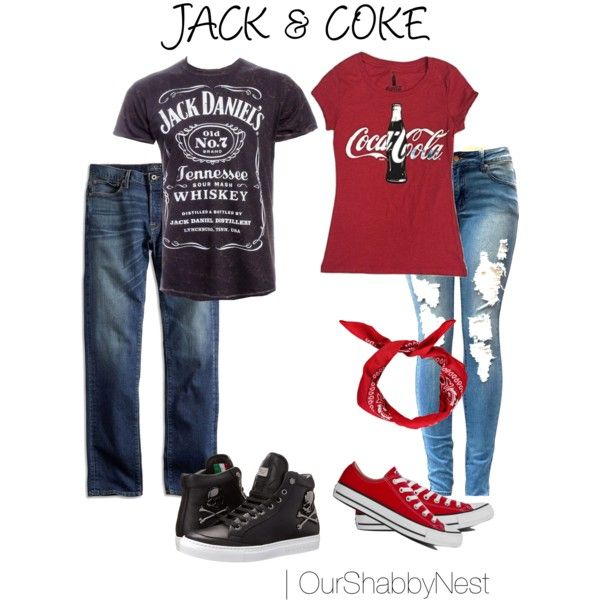 Couples Costumes Jack  Coke by ourshabbynest on Polyvore featuring - halloween couples costumes ideas