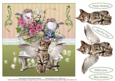 Little Angel Kitten Topper with Decoupage on Craftsuprint - Add To Basket!