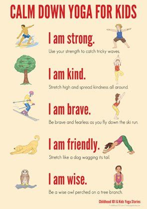 calm down yoga routine for kids printable  yoga routine