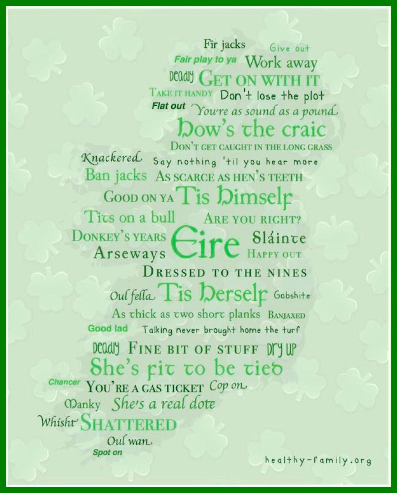 Irish ...Need to frame this one! slang/phrase map of ...