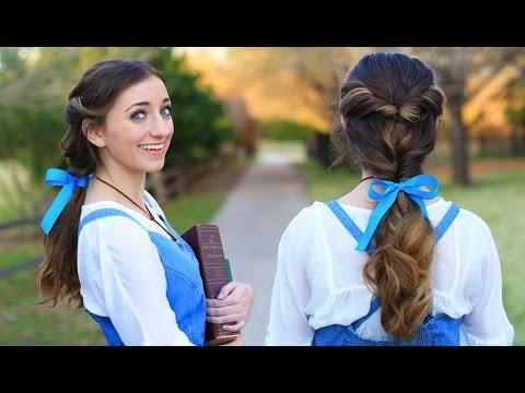 Disney Hairstyles Emma Watson Belle Ponytail Hair Tutorial  Beauty And The Beast