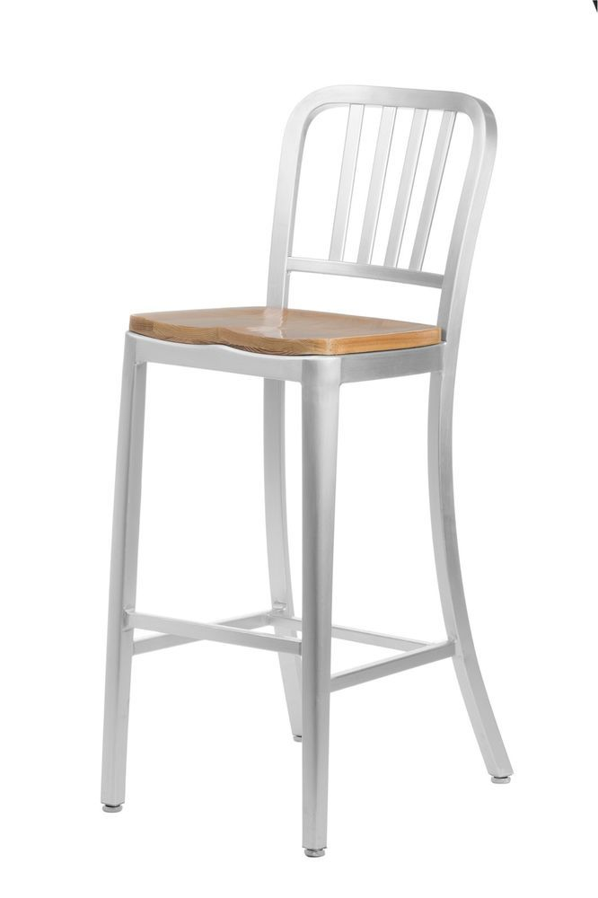 24 Brushed Aluminum Counter Height Navy Bar Stool With Oak Wood Seat