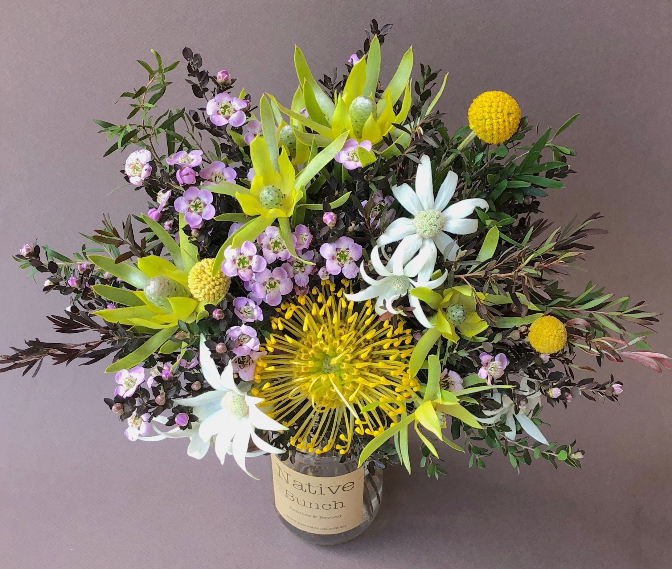 Native flower Posy jar Flannel flowers, Tea Tree lavender
