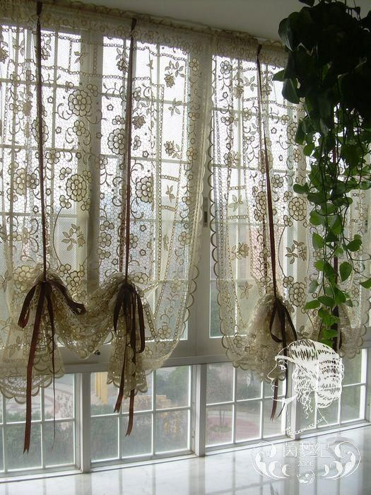 Cafe Kitchen Curtains Grow Lights French Country Hand Crochet Lace Balloon Shade Sheer By Elvia