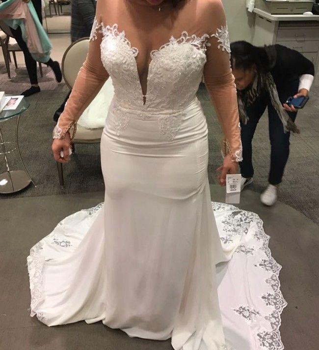 Sheer Long Sleeve Wedding Dress With Lace Hem Train From Darius Bridal