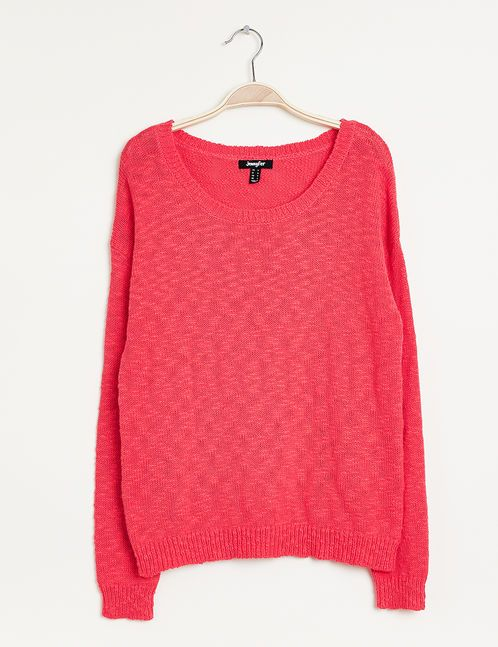 Pull mailles fantaisies corail