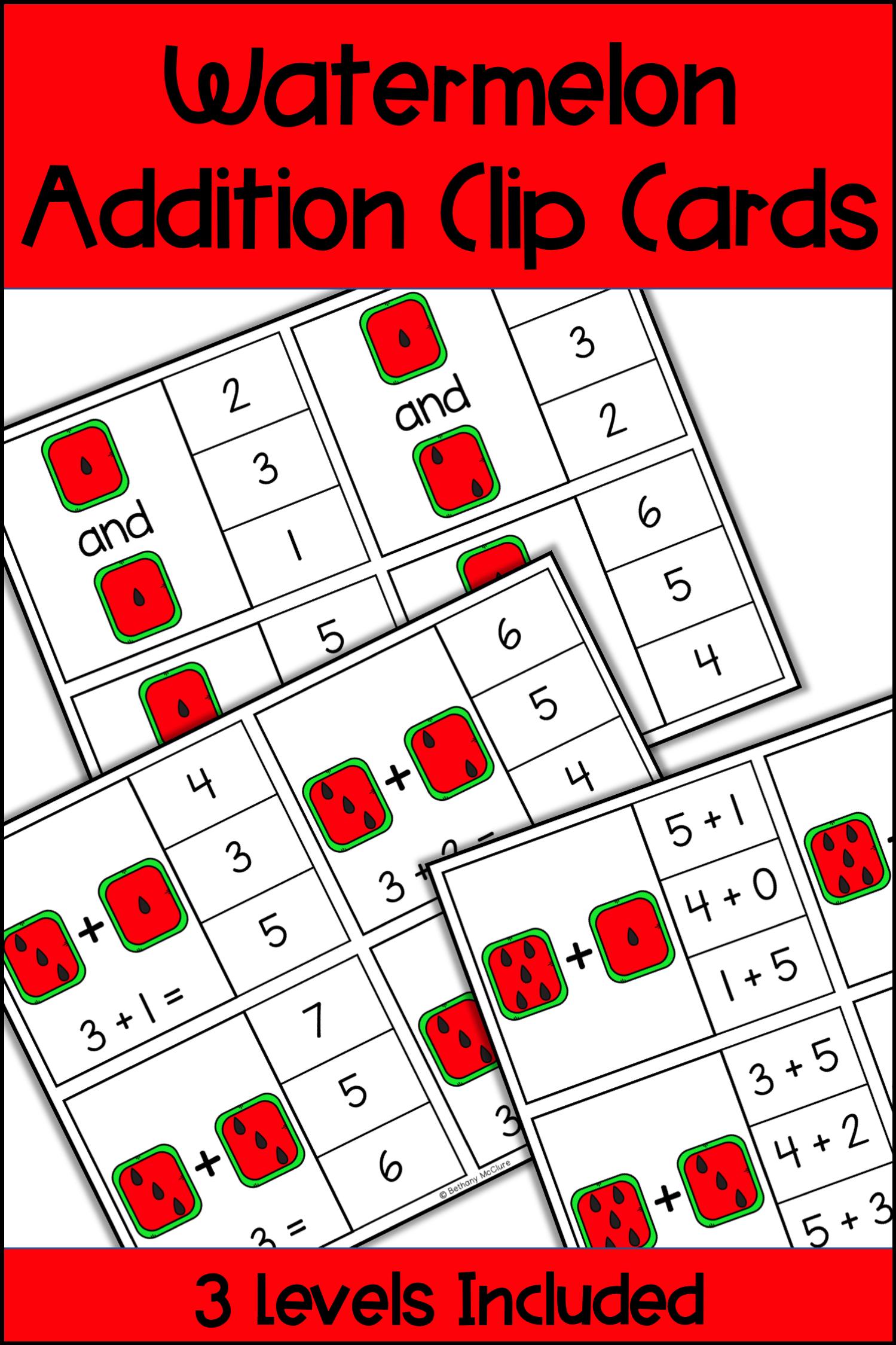 Watermelon Addition Clip Cards