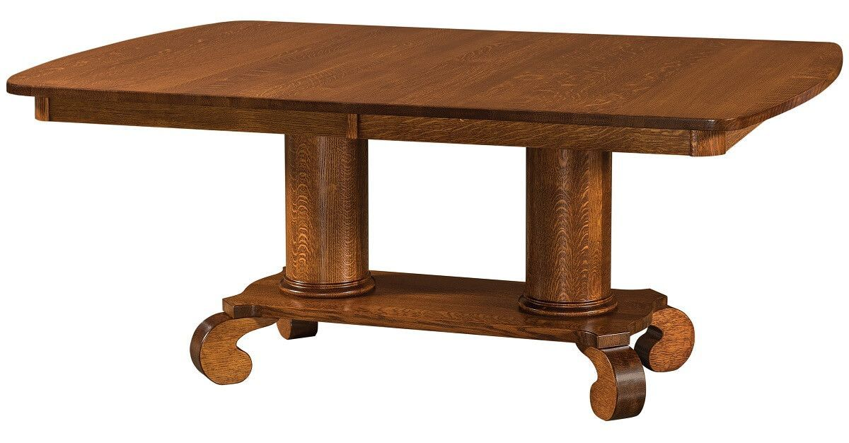 Lowell Double Pedestal Table Dining Table In Kitchen Pedestal Table Amish Furniture
